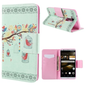Branch and Cage Leather Case for Huawei Ascend Mate7 with Card Holder