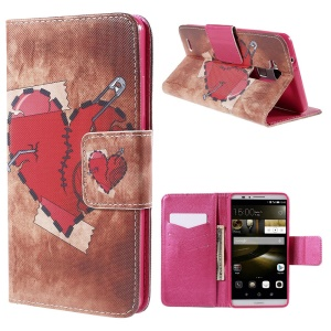 Red Heart Wallet Stand Leather Case for Huawei Ascend Mate7