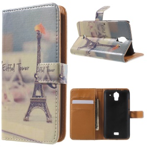 Eiffel Tower Leather Wallet Cover for Huawei Y360