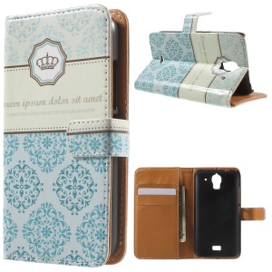 Crown and Flowers Wallet Leather Stand Case for Huawei Y360