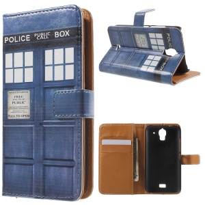 Police Public Call Box Leather Wallet Cover Case for Huawei Y360