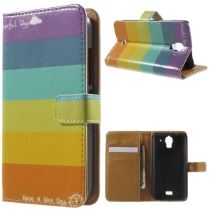 Colorized Stripes Leather Protective Case for Huawei Y360