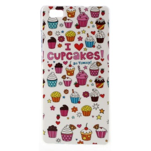 For Huawei Ascend P8 Lite Soft TPU Cover Case - I Love Cupcakes