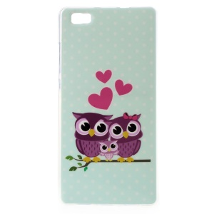For Huawei Ascend P8 Lite Gel TPU Cover Case - Love Owl Family