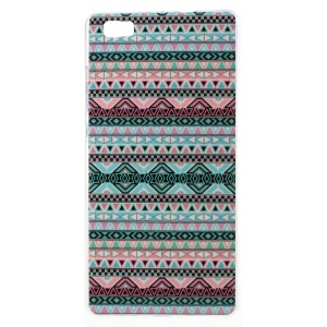 For Huawei Ascend P8 Lite Gel TPU Phone Cover - Aztec Tribal Pattern