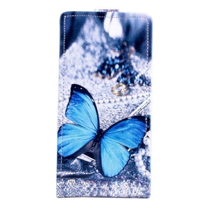 Blue Butterfly Vertical Leather Case for Lenovo S850