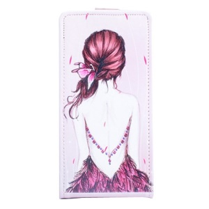 Sketch Back of Girl Leather Vertical Case for Lenovo S850 - Red Background