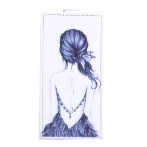 Sketch Back of Girl Leather Vertical Cover for Lenovo S850 - Black Background