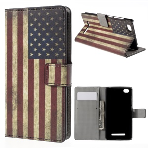 Vintage US Flag Flip Wallet Stand Leather Cover for Xiaomi Mi 4i
