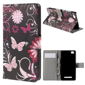 Butterflies and Flowers Wallet Stand PU Leather Shell for Xiaomi Mi 4i