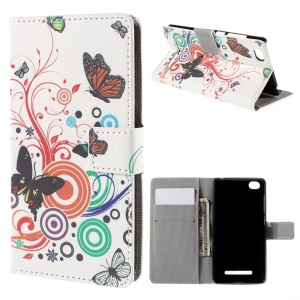 Butterflies and Circles Magnetic Wallet Leatherette Shell for Xiaomi Mi 4i
