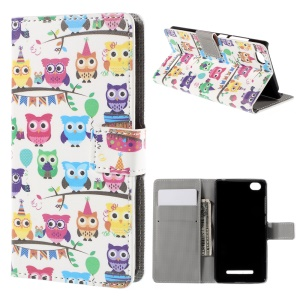 Multiple Cute Owls Flip Wallet Protective Leather Case for Xiaomi Mi 4i