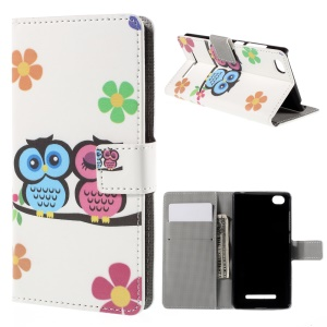 Owl Lover and Flower Flip Wallet Protective Leather Cover for Xiaomi Mi 4i