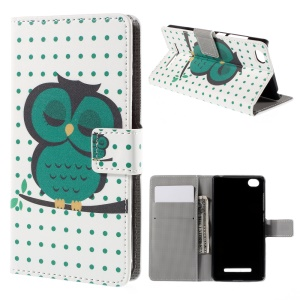 Napping Owl on the Branch Card Slots Protective Leather Shell for Xiaomi Mi 4i
