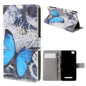 Blue Butterfly Card Slots Protective Leather Case for Xiaomi Mi 4i