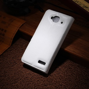 Lychee PU Leather Wallet Case Stand for Alcatel One Touch Idol Mini OT-6012X OT-6012A - White