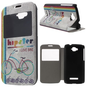 Window View Leather Cover for Alcatel One Touch Pop C7 OT-7040E 7040F 7040D with Perfume Smell - Colorful Bicycle
