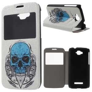 Window View Leather Case for Alcatel One Touch Pop C7 OT-7040E with Perfume Smell - Blue Skull