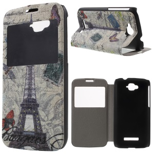 Window View Leather Case for Alcatel One Touch Pop C7 OT-7040E with Perfume Smell - Eiffel Tower and Butterflies