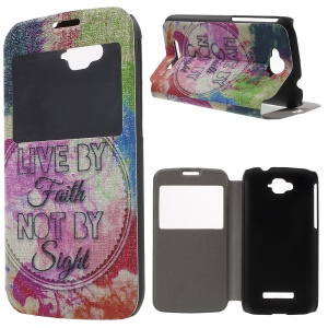 Window View Leather Case for Alcatel One Touch Pop C7 OT-7040E with Perfume Smell - Live by Faith Not by Sight