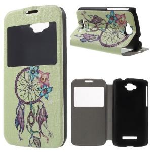 Window View Leather Phone Case for Alcatel One Touch Pop C7 OT-7040E - Dream Catcher