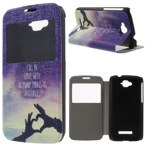 Window View Leather Phone Case for Alcatel One Touch Pop C7 OT-7040E - Fall In Love With as Many Things as Possible
