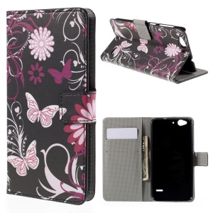 Wallet Leather Stand Case for ZTE Blade S6 - Butterfly Flowers