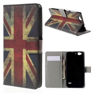 Wallet Leather Stand Case Cover for ZTE Blade S6 - Vintage UK Flag