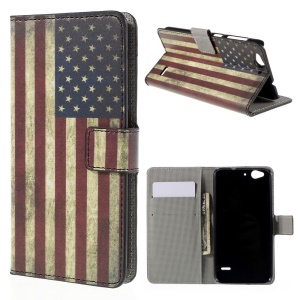 Wallet Leather Stand Cover Case for ZTE Blade S6 - Retro American Flag
