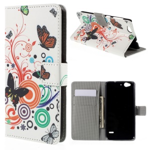 PU Leather Wallet Cover for ZTE Blade S6 - Butterfly Circles