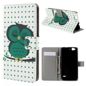 Magnetic Leather Stand Cover for ZTE Blade S6 - Sleeping Owl on the Branch