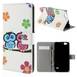 Magnetic Leather Stand Case for ZTE Blade S6 - Owls and Flowers
