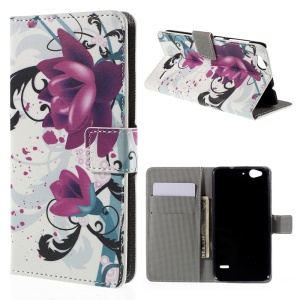 Leather Stand Case for ZTE Blade S6 with Card Slots - Elegant Lotus