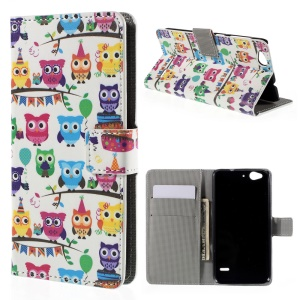 Leather Stand Cover for ZTE Blade S6 with Card Slots - Multiple Owls