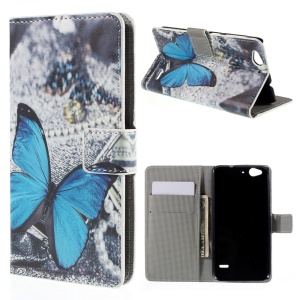 Wallet Leather Protective Case for ZTE Blade S6 - Blue Butterfly