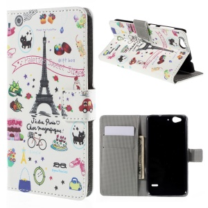 Wallet Leather Protective Cover for ZTE Blade S6 - Eiffel Tower and Fruits