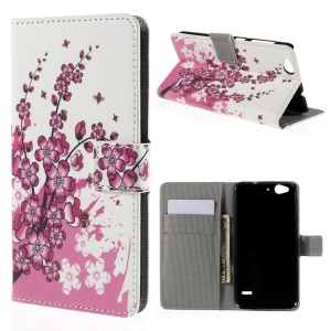 Wallet Leather Stand Cover for ZTE Blade S6 - Plum Blossom