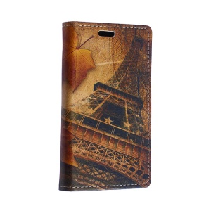 Eiffel Tower and Maple Leather Case for Motorola Moto E2 XT1505 E+1 with Card Slots