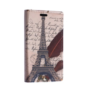 Eiffel Tower and Quill Pen Wallet Leather Stand Case for Motorola Moto E2 XT1505 E+1