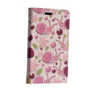 Colorized Snail and Starfish Leather Case for Motorola Moto E2 XT1505 E+1 with Card Slots - Pink Background