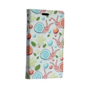 Colorized Snail and Starfish Wallet Leather Stand Case for Motorola Moto E2 XT1505 E+1 - White Background
