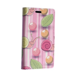 Colorized Balloon & Snail Leather Magnetic Case for Motorola Moto E2 XT1505 E+1 - Pink Stripes