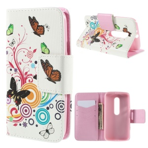 Wallet Leather Stand Case Cover for Motorola Moto G 3rd Gen XT1541 XT1543 - Butterflies and Circles