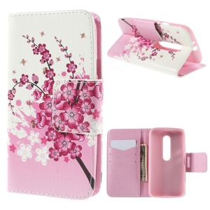 Wallet Leather Stand Case Cover for Motorola Moto G 3rd Gen XT1541 XT1543 - Plum Blossom