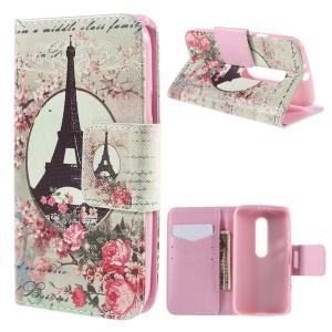 Flip Wallet Leather Stand Case for Motorola Moto G 3rd Gen XT1541 XT1543 - Eiffel Tower and Flower