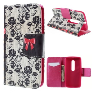 For Motorola Moto G 3rd Gen XT1541 XT1543 Wallet Leather Stand Cover - Chinese Style Floral Pattern