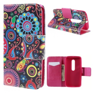 For Motorola Moto G 3rd Gen XT1541 XT1543 Flip Wallet Leather Case Cover - Paisley Style Pattern