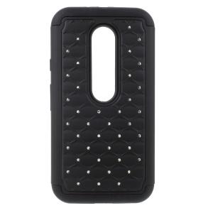 Rhinestone Starry Sky Detachable Silicone + PC Case for Motorola Moto G 3rd Gen XT1541 XT1543 - Black