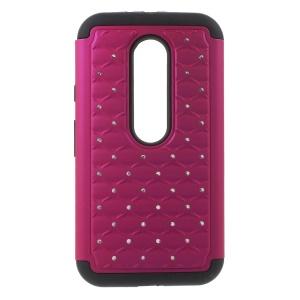 Rhinestone Starry Sky Silicone + PC Hybrid Case for Motorola Moto G 3rd Gen XT1541 XT1543 - Rose / Black
