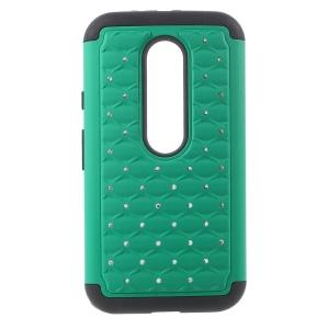 For Motorola Moto G 3rd Gen XT1541 XT1543 Rhinestone Starry Sky Silicone + PC Case - Green / Black